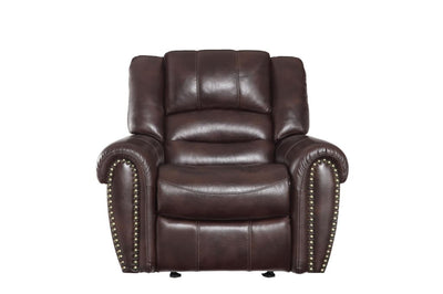 Glider Reclining Chair In Leather Gel Match Upholstery, Dark Brown - 9668NDB-1