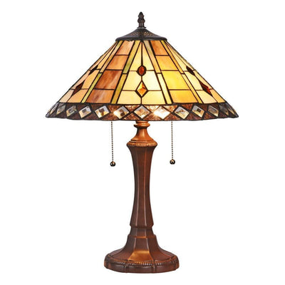 "Godwine Tiffany-Style 2 Light Geometrictable Lamp 16"" Shade - CH3T991AG16-TL2"