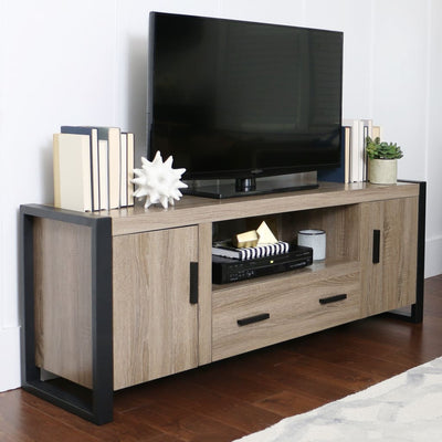 Gorgeously Styled Urban Blend TV Stand in Driftwood & Black by Walker Edison