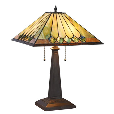 "Graham Tiffany-Style 2 Light Mission Table Lamp 16"" Shade - CH3T994BG16-TL2"
