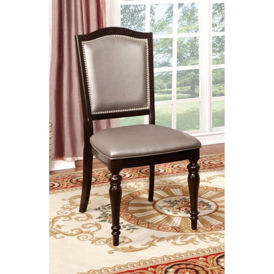 Harrington Transitional Side Chair With PVC, Brown Finish, Set of 2