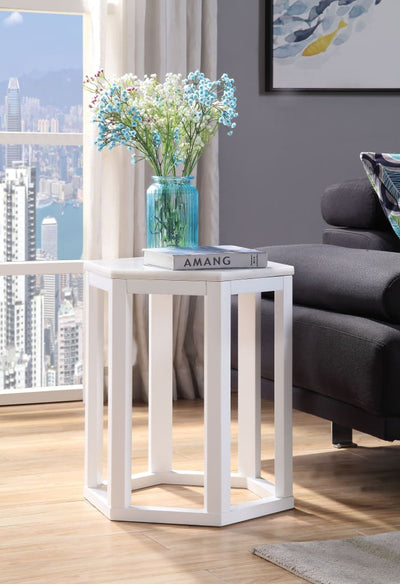 20 Inch Hexagonal Wooden End Table with Marble Top, White - 82462