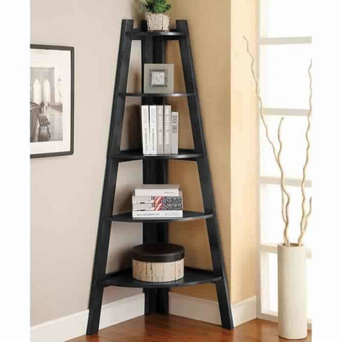 High And Spacey Contemporary Ladder Shelf, White