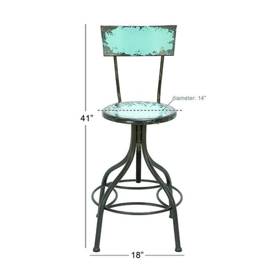 Industrial Style Metal Bar Chair With Adjustable Seat Blue-Benzara 55416