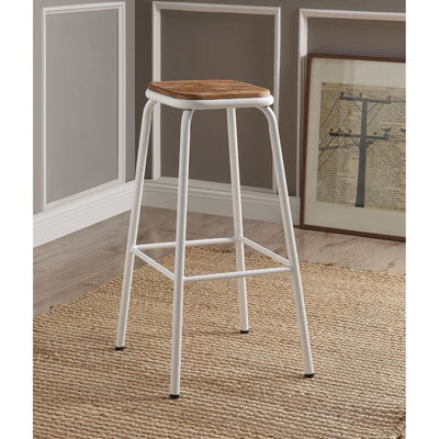 Industrial Style Metal Frame Wooden Bar Stool, Brown and White, Set of Two - ACME