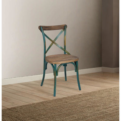 Industrial Style Wooden and Metal Frame Side Chair, Brown and Turquoise - ACME