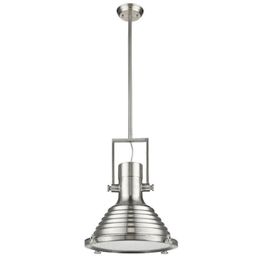 "IRONCLAD Industrial-style 1 Light Brushed Nickel Ceiling Mini Pendant 16"" Shade"