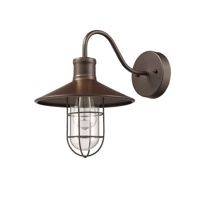 "Ironclad Industrial-Style 1 Light Rubbed Bronze Wall Sconce 11"" Wide"