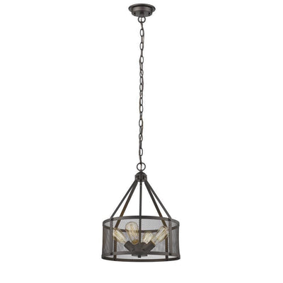 "Ironclad Industrial-Style 4 Light Rubbed Bronze Ceiling Pendant 16"" Wide - CH2D100RB16-UP4"