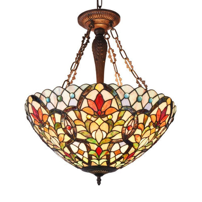 "Ivana Tiffany-Style 3 Light Floral Inverted Ceiling Pendant 21"" Shade - CH3T012RF21-UH3"