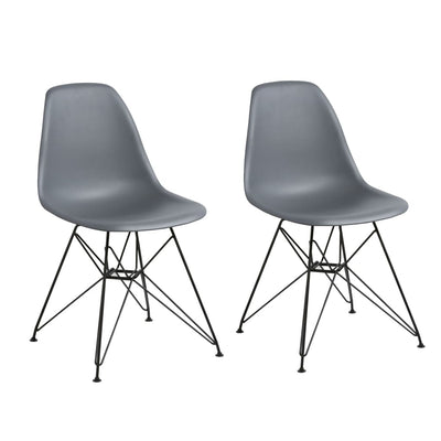 Deep Back Plastic Chair with Metal Eiffel Legs Set of 2 Gray and Black MSF-9L6666R