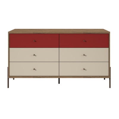 "Joy 59"" Wide Double Dresser with 6 Full Extension Drawers, Multi Color - 350591"