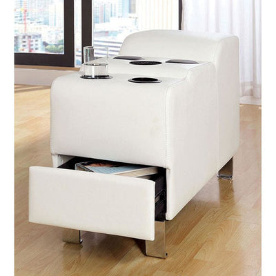 Kemina  Bonded Leather White Speaker Console By Casagear Home