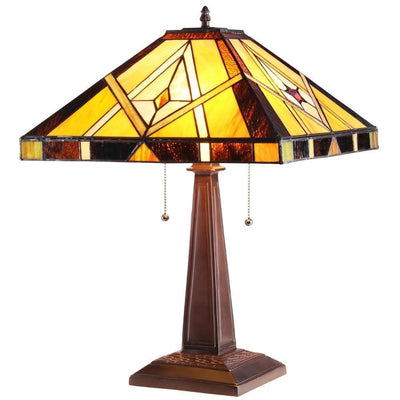 "Kieth Tiffany-Style 2 Light Mission Table Lamp 16"" Shade"