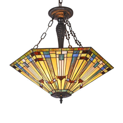 "Kinsey Tiffany-Style 3 Light Mission Large Inverted Ceiling Pendant 24"" Shade - CH33293MS24-UH3"
