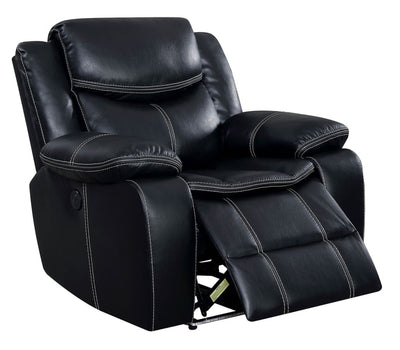 Leatherette Power Recliner With Cup Holders & Storage, Black By Casagear Home