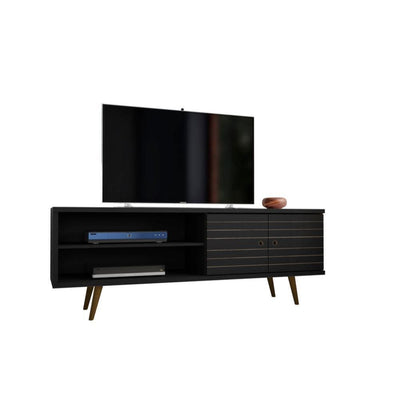 "Liberty 62.99"" Mid Century - Modern TV Stand with 3 Shelves and 2 Doors, Black"