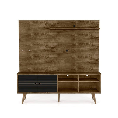 "Liberty 70.87"" Freestanding Entertainment Center with Overhead shelf, Rustic Brown and Matte Black"