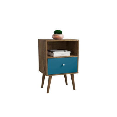 Liberty Mid Century - Modern Nightstand 1.0 with 1 Cubby Space and 1 Drawer, Rustic Brown and Aqua Blue