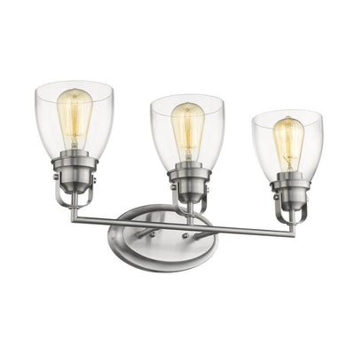 "Lily Contemporary 3 Light Brushed Nickel Bath Vanity Light Clear Glass 23"" Wide - CH2R012BN23-BL3"