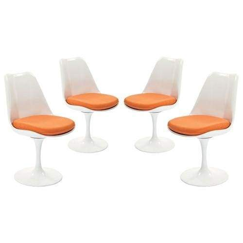 Lippa Dining Side Chair Fabric Set of 4 Orange