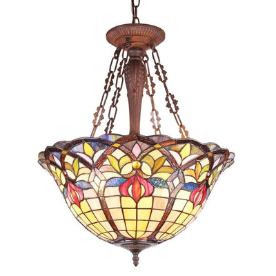 "Loretta Tiffany-Style Victorian 3 Light Inverted Ceiling Pendant 20"" Shade"