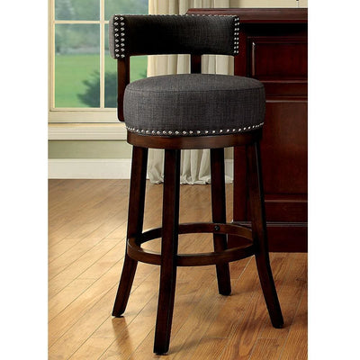 "Lynsey Contemporary 24""Barstool With linen Cushion, Gray Finish, Set of 2 By Casagear Home"