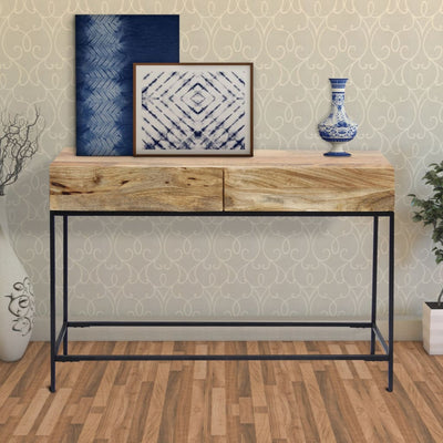 Mango Wood and Metal Console Table With Two Drawers, Brown By The Urban Port