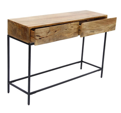 Mango Wood and Metal Console Table With Two Drawers Brown By The Urban Port UPT-39270