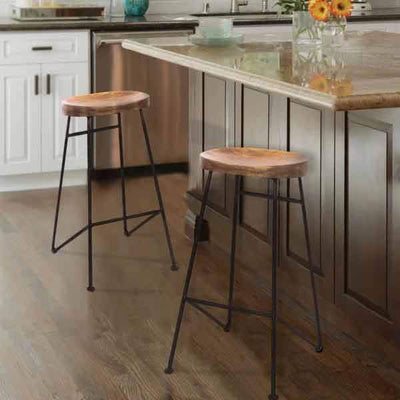 28 Mango Wood Saddle Seat Bar Stool With Iron Rod Legs Brown and Black UPT-183797