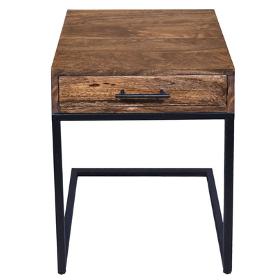 Mango Wood Side Table with Drawer and Cantilever Iron Base Brown and Black UPT-186118