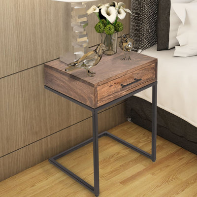 Mango Wood Side Table with Drawer and Cantilever Iron Base, Brown and Black