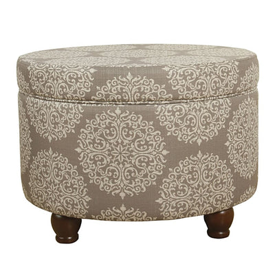 Medallion Pattern Fabric Upholstered Wooden Ottoman with Storage, Beige and Cream - K6427-F1530 By Casagear Home