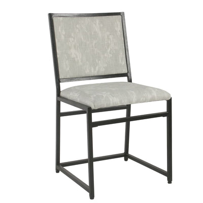 Metal Dining Chair with Ikat Printed Fabric Padded Seat and Back, Gray and Cream - K6909-A834 By Casagear Home