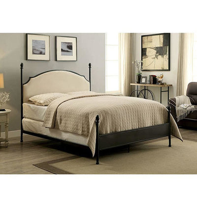 Metal Eastern King Bed with Padded Fabric, Black By Casagear Home