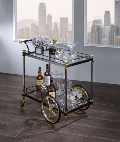 Metal Framed Serving Cart with Glass Shelves and Side Handle, Black and Gold - 98370