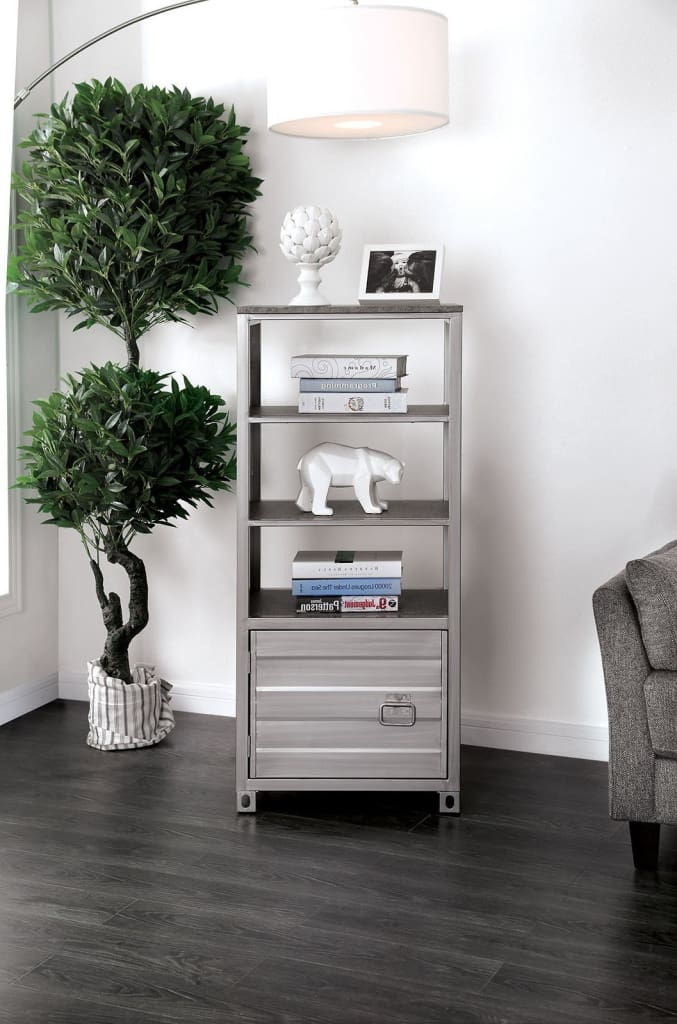 Metal Left Pier Cabinet with Three Shelves and Right Handled Door Storage, Silver - CM5458-PCL