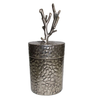 Metal Lidded Jar With Patterned Body , Silver By Casagear Home