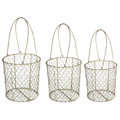 Metal Wire Mesh Storage Basket, Set of 3, Brown By Casagear Home