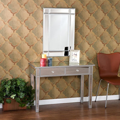 2 Drawer Wooden Console Table with Mirror Inserts, Silver and Gray By The Urban Port