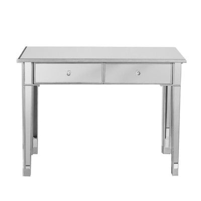 Mirrored Console Table/Vanity Table with 2 Drawers Silver & Clear By The Urban Port UPT-157134