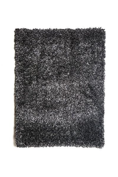 Modern Style Polyester Area Rug With Cotton Backing, Dark Charcoal Gray