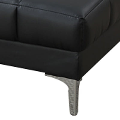 Modish Bonded Leather Ottoman In Black PDX-F7228