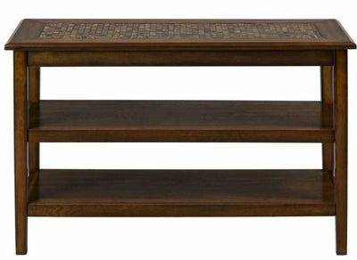 Mosaic Tile Inlay Wooden Sofa/Media Table with 2 Shelves Baroque Brown - BM181506 BM181506