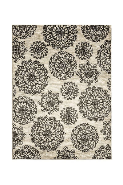 Nylon and Latex Area Rug With Flower Pattern, Small, Black and Beige
