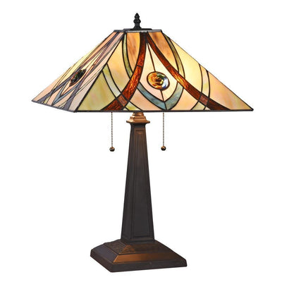 "Orson Tiffany-Style 2 Light Mission Table Lamp 16"" Shade - CH3T995AM16-TL2"
