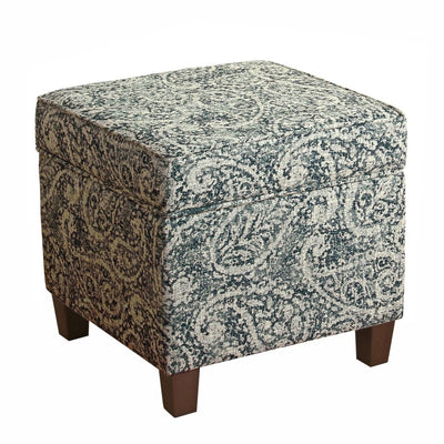 Paisley Pattern Fabric Upholstered Wooden Ottoman with Lift Off Top, Blue and Gray - K7342-F2214 By Casagear Home