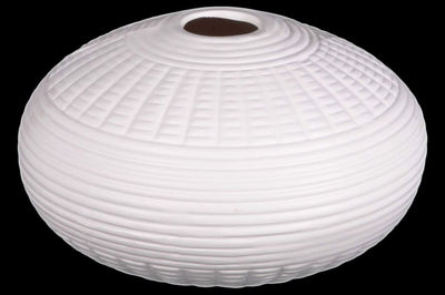 Patterned Ceramic Vase In Round Shape, White-21479