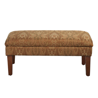 Patterned Fabric Upholstered Wooden Bench with Lift Top Storage, Multicolor - N6302-F765 By Casagear Home
