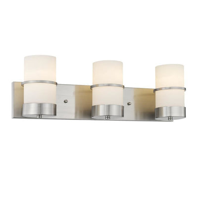 "Penelope Contemporary 3 Light Brushed Nickel Etched White Glass 23"" Wide - CH2R001BN23-BL3"